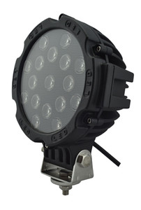 hot selling 7 Inch 51W Car Round LED Work Light 12V High-Power 17 X 3W Spot For 4x4 Offroad Truck Tractor Driving Fog Lamp