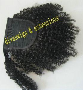 Клип в угольно-черный афро кудрявый вьющиеся обернуть вокруг человеческих волос шнурок хвост наращивание волос 100 г