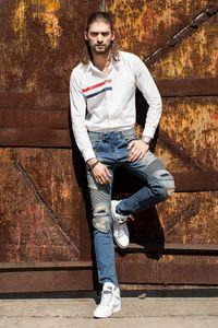 Nuevo Mens Biker Jeans Biker Knee Panel Jeans Distressed Denim Brand 30 32 34 36 38