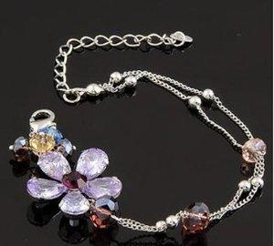 lila Kristall Blume Damenarmband 170mm) (ttle)