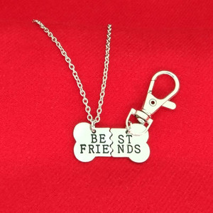 Necklace Keychain BEST Necklace Pendant FRIENDS Pet Dog Bones BFF Gold 2 Jewelry Bones Dog Part And Silver Mens Jgcao