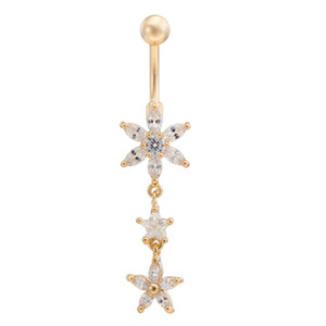 Star Flower CZ Piercings Bijoux Femmes Sexy Ventre Bouton Anneau Long Dangle Navel Bar Or Dangle Bijoux De Corps Piercing Rouge / Rose