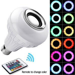 لاسلكية 12W الطاقة E27 LED RGB سماعات بلوتوث لمبة ضوء مصباح موسيقى اللعب RGB الإضاءة مع جهاز التحكم عن بعد