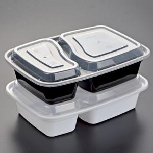900 ML Tek Kullanımlık Plastik Gıda Kabı 2-bölme Gıda Öğün Depolama Holoder 2 renkler Çıkarın Kutusu Sofra
