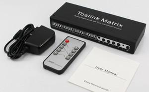 Distribuição de áudio de matriz de toslink SPDIF / TOSLINK áudio digital óptica 4 x 4 matriz verdadeira com controle remoto 4 em 4 out toslink switch splitter