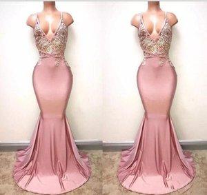 Dusty Rosa Sexy Spaghetti Riemen Meerjungfrau Prom Kleider 2021 Tiefem V-ausschnitt sexy Backless Lace Pailletten Perlen lange formale Abendkleider