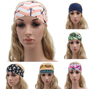 Mode Frauen Stirnbänder Böhmen Stoff Drucksport Haarband Mode Yoga Stretch Streckbands Lady Bandana Head Wrap 17 Stil WX-H15