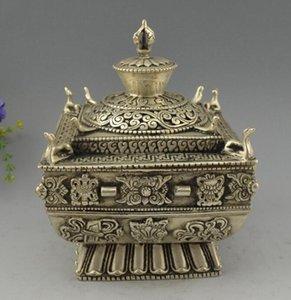 Chine Miao Argent sculpté huit trésors encensoir dragon encens brûleur Statue