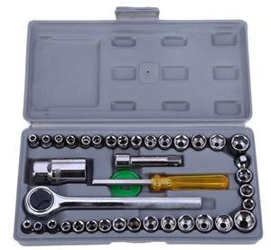 40pcs Caja de herramientas de reparación de motocicletas de automóvil Caja de herramientas de reparación de automóvil de la llave del coche del kit de destornillador de la manga del coche kit de herramientas de reparación de automóviles