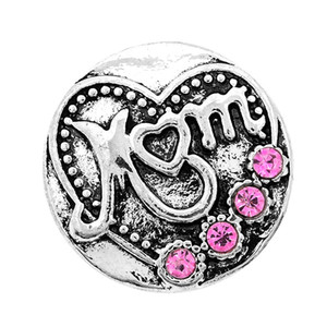 10 PCS new rhinestone on the snap button, MOM love character suitable for 18 mm snap button jewelry, is the best gift