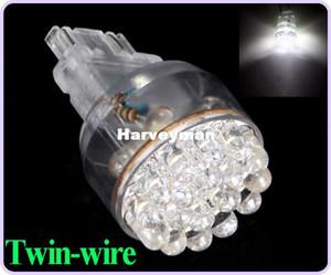 슈퍼 밝은 T25 24 3157 3057 LED 자동차 브레이크 중지 빛 신호 전구 1.5W 웨지 화이트 트윈 와이어 무료 배송 Wholesales