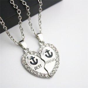 Collier de mode ensemble meilleurs amis ancre pendentif colliers argent plaqué avec strass amitié colliers longs cadeau