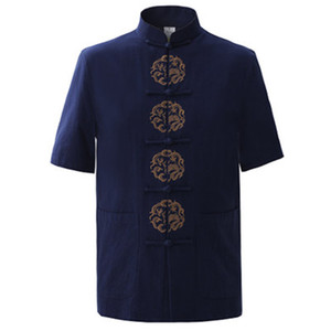 Wholesale- Summer Navy Blue Men's Cotton Embroidery Dragon Shirt tops Vintage Chinese  Short Sleeve Shirt Tang Suit Size M - XXXL