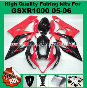 Carenados 100% aptos para SUZUKI 2005 2006 GSXR1000 GSX-R1000 05 06 Kit de carenados GSXR 1000 2005 2006 Kit de carenado rojo negro # 72216 pre_drilled