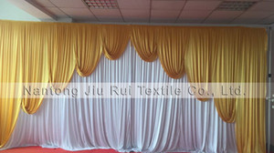 2017 New Design !Free Shipping Shiny Ice Silk 3M*6M Waved Wedding Swag With Curtain Wedding Party Decoration