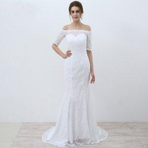 Белые старинные кружева дешевые русалка свадебные платья 2017 с плеча с половиной рукавов свадебные платья vestidos novia robe de mariee