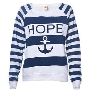Wholesale-JECKSION 2016 Nueva Camisa para Mujer Barco Anchor Stripe Print Manga Larga Sudadera Pullover Tops #LYW