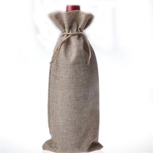10 шт. / лот джут бутылки вина подарочные пакеты бордовый 16 * 36 см рождественские украшения вина складные сумки праздничные поставки