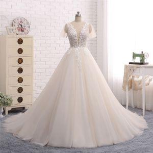 New Long Wedding Dress Scoop Short Sleeves A-Line Chapel Train Appliques Tulle Bridal Gowns Vestido de noiva