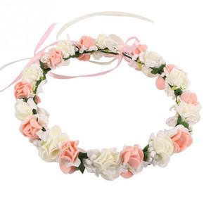 Hotsale Hochzeit Braut Mädchen Blume Kranz Krone für Frauen Kinder Kopf Rosa Lila Weiß Rose Handgemachte Tiara Fashion Kopfschmuck