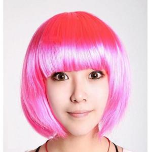 Fiesta del festival corto bob pelucas halloween navidad cosplay pelucas fanático del fútbol peluca colorida sintética corta pelucas de pelo recto gorra peluca
