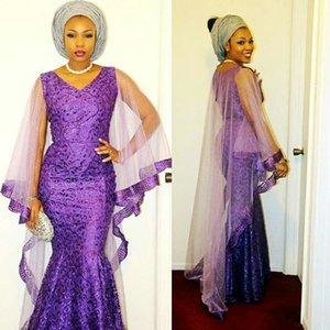 2k17 черные девушки Русалка вечерние платья с Watteau поезд V шеи кружева плюс размер Пром платье блестки Африканский Vestidos фиолетовый коктейльное платье