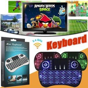 Retroilluminazione multi-colore Backlit Retroilluminata Tastiere Retro Rii con telecomando per tastiera Air Mouse 2.4GHz per Smart TV Box Android