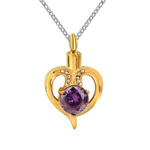 Urn Necklack Crystal in Heart Memorial Keepsake Pendant Cremation Jewelry