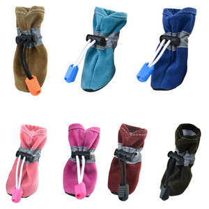 7 Color 4pcs set pet shoes for dogs Waterproof Shoes Winter Warm Soft Thick Breathable Dogs Boot Shoes For Chihuahua Puppies