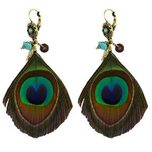 Boucles d'oreilles pendantes à la plume de paon vert