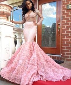 2017 Luxury Pink 2K17 Vestidos de baile Sexy Illusion Bodices espalda abierta de manga larga Potel flores Sparkle vestidos de noche Vestidos de fiesta