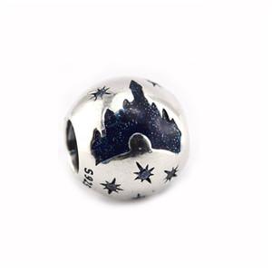 2017 Verão New charme céu bela adormecida castelo da meia-noite esmalte azul 925 finas jóias de prata para as mulheres charme pulseira HB556 DIY