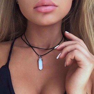 Druzy Sarkık Gerdanlık PU Halat Zincir Kadınlar için Doğal Taş Opal Kolye Kolye Çift Katmanlar Chokers