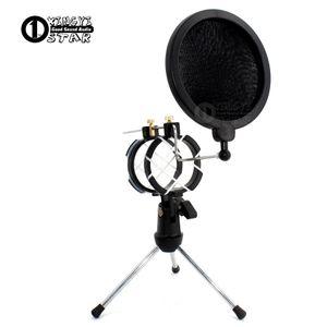 Área de trabalho Ajustável Pop Filtro Clipe Mikrofon Tripé Dobrável Karaoke Microfone Suporte Windscreen Máscara Escudo PC Recording Mic Holder Clamp