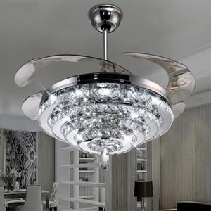 LED Lampadario di cristallo Fan Lights Ventilatore invisibile Crystal Lights Soggiorno Camera da letto Ristorante Ventilatore da soffitto moderno 42 pollici con telecomando