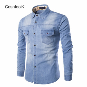 Wholesale- Mens Refreshing Leisure Yong Style Man Clothes Full Sleeves Stylish Washed Denim Fabric Slim Fit Cotton Denim Shirts Hombre B093