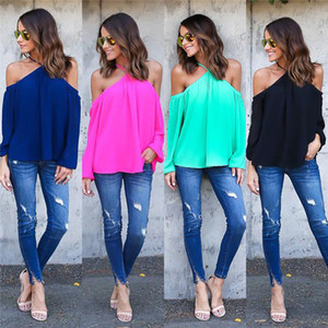 2017 new fashion women lady casual autumn candy color long-sleeve chiffon sexy halter off shoulder shirt blusas blouse tops