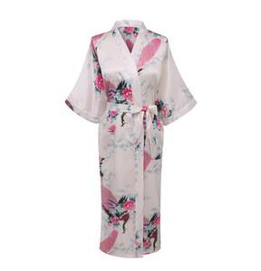 Al por mayor-Blanco Sexy mujeres chinas de seda Rayón Robe Wedding Dama de honor ropa de dormir con cuello en v Kimono vestido de baño Mujer pijama más el tamaño XXXL WR017