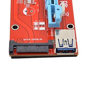 Freeshipping 100pcs / lot 60CM PCIE 1X a 16X Extender PCIE Riser card con 15 pin SATA femminile Power Interface + USB 3.0 cavo dati