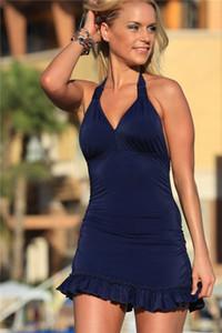 Azul oscuro o negro color puro verano playa desgaste cubrir hasta Tankini Tankini Modest traje de baño para damas de las mujeres