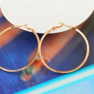 Alta Qualidade Big Vintage Rodada brincos de argola para as Mulheres Ouro Amarelo Cor novos jóia Drop Shipping ER-960