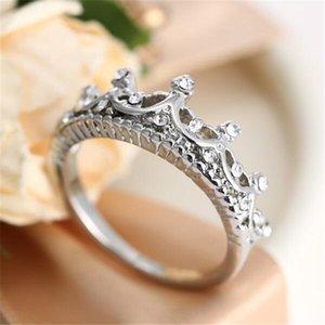 DHL Crown Anel Anéis de Diamante para As Mulheres Palácio Restaurando Antigas Formas O Temperamento da Rainha Anéis de Prata para As Mulheres Presente de Natal