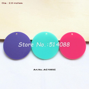 Pendenti acrilici all'ingrosso- (3colors, 24pcs / lot) 50mm cerchio rosa scuro, Aqua, disco turchese con foro ritaglio 2 pollici -AC1065C