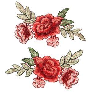 1 Pair Nakış Gül Çiçek Yama Şapka Kot Elbise Sticker Aplike Zanaat Dikmek