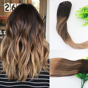 8A 7pieces 120gram клип в наращивание человеческих волос балаяж темно-коричневый основные моменты бразильский человека Реми волосы девственницы