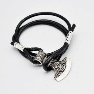 Vente en gros - 1pcs À La Main Viking Rune Bracelet Norse Viking Celtics Marteau Bracelet En Cuir Wrap Bracelet Amulette Talisman Bijoux BT07