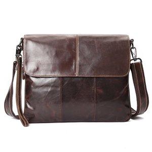 Hot Sale Fashion Vintage genuine leather shoulder bag High quality brown casual shoulder bag for Men large capacity business briefcases