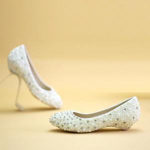Hochzeitszeremonie Keilabsatz Brautkleid Schuhe Hochzeitstag Party Schuhe Mutter der Braut Schuhe Pink und Elfenbein Perle