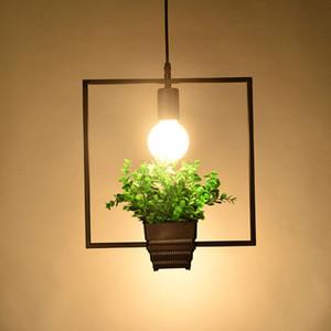 Lampada a sospensione illuminazione moderna loft Piante geometriche Vaso quadrato in ferro Sospensione lampadario amerato Designer per arredamento Ristorante Cafe