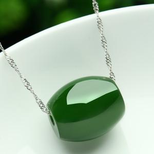New whosale Genuine jewelry natural jade Hetian jade Verde contas de transferência de jade colar de pingente de 925 jóias de prata presentes Sorte Mulheres